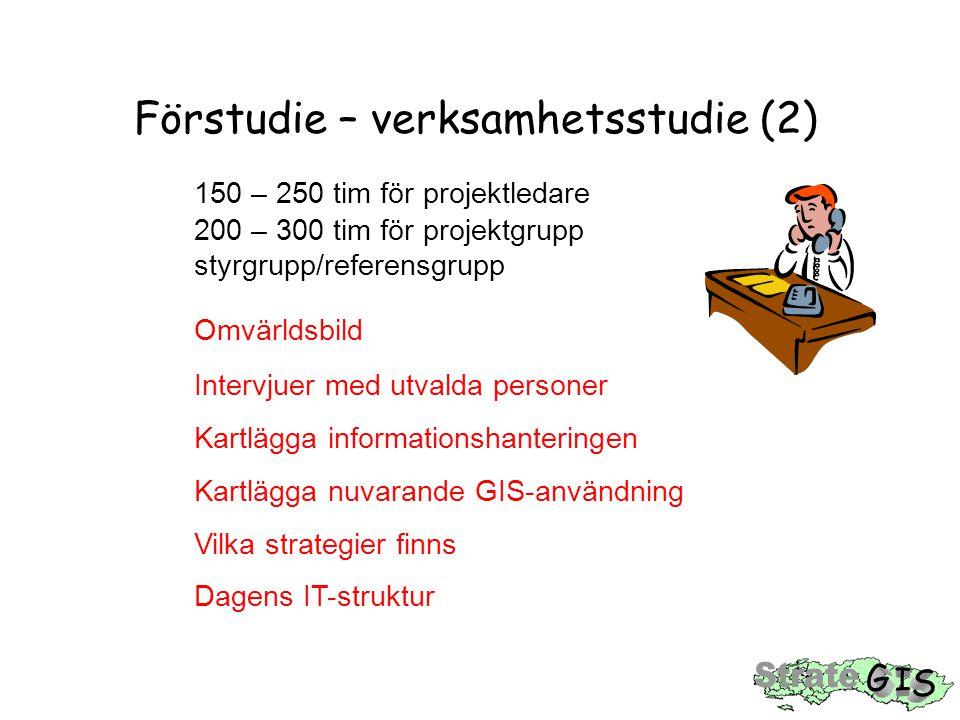 Förstudie – verksamhetsstudie (2) 150 – 250 tim för projektledare 200 – 300 tim för projektgrupp styrgrupp/referensgrupp Omvärldsbild Intervjuer med u