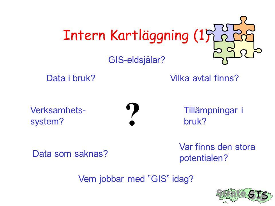 Intern Kartläggning (1) Data i bruk? GIS-eldsjälar? Verksamhets- system? Vilka avtal finns? Tillämpningar i bruk? Data som saknas? Var finns den stora