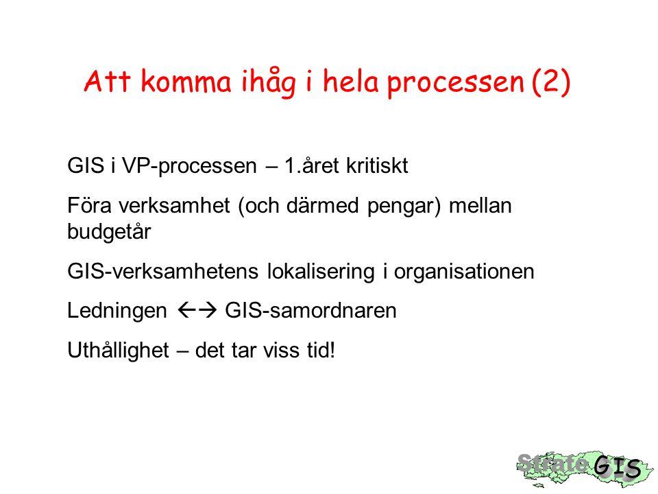 Att komma ihåg i hela processen (2) GIS i VP-processen – 1.året kritiskt Föra verksamhet (och därmed pengar) mellan budgetår GIS-verksamhetens lokalis