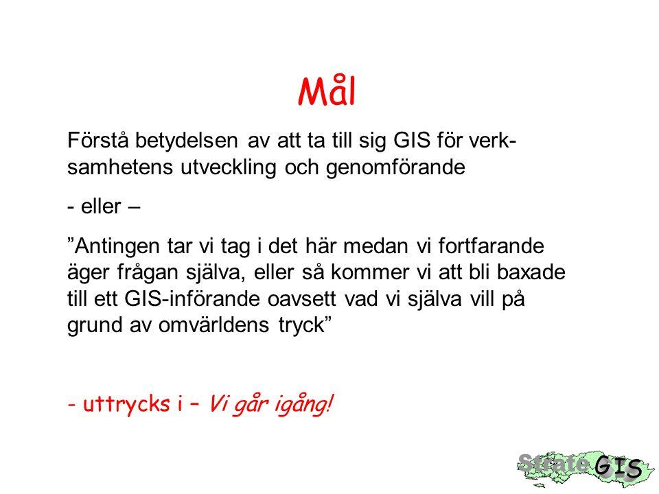 Startseminarium (1) Mål: Beslut om 'förstudie GIS' HandlingsplanUtkast till GIS-Metadata- avs.