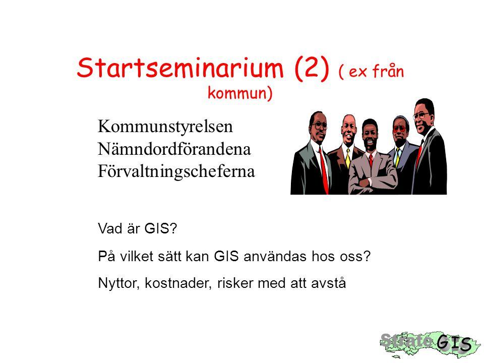 Startseminarium (3) Mål för ett startseminarium: Förståelse för GIS som ett verktyg i effektiv informationshantering Vilja att ta GIS i bruk Höja handlingsberedskapen Förstudie  handlingsväg Medelsreservation för 'år 1'