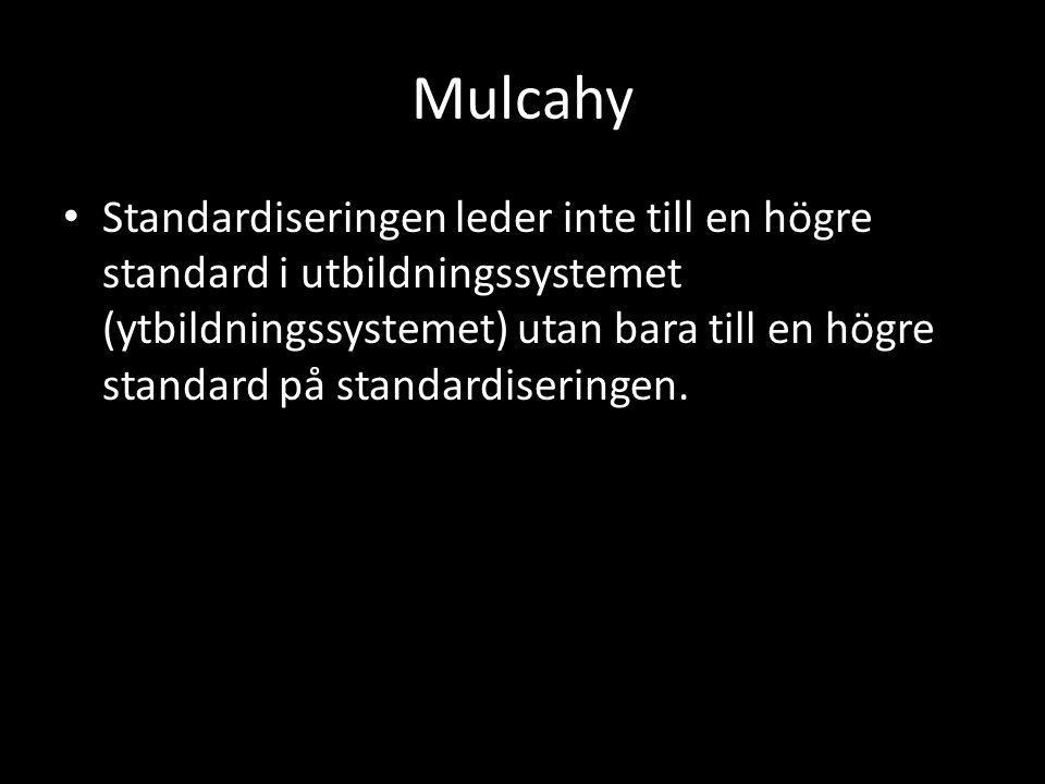 Mulcahy Standardiseringen leder inte till en högre standard i utbildningssystemet (ytbildningssystemet) utan bara till en högre standard på standardiseringen.