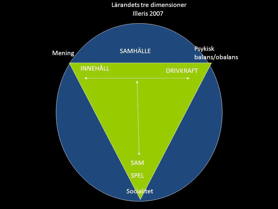 Lärandets tre dimensioner Illeris 2007 SAM SPEL INNEHÅLL DRIVKRAFT SAMHÄLLE Mening Psykisk balans/obalans Socialitet