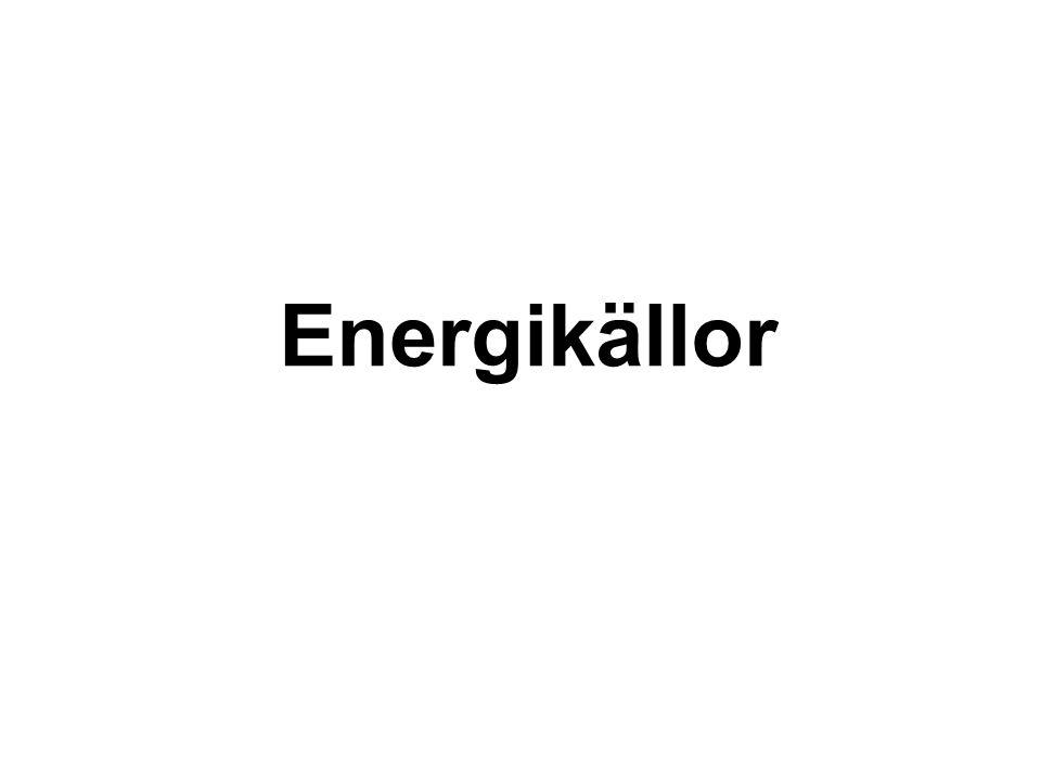 Kärnkraft Uran= en malm Ger mycket energi Mer än 20% Olyckor blir omfattande Ren energikälla, men kräver slutförvaring i 100 000 år