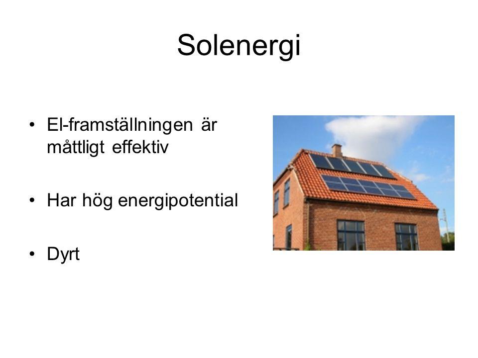 Solenergi El-framställningen är måttligt effektiv Har hög energipotential Dyrt