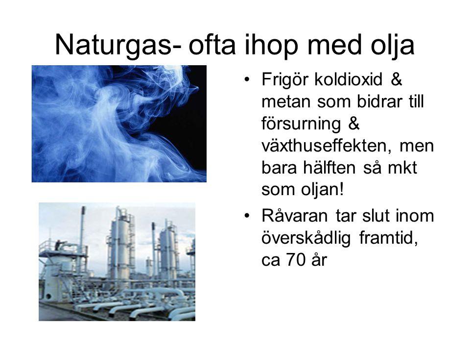 Naturgas- ofta ihop med olja Frigör koldioxid & metan som bidrar till försurning & växthuseffekten, men bara hälften så mkt som oljan! Råvaran tar slu