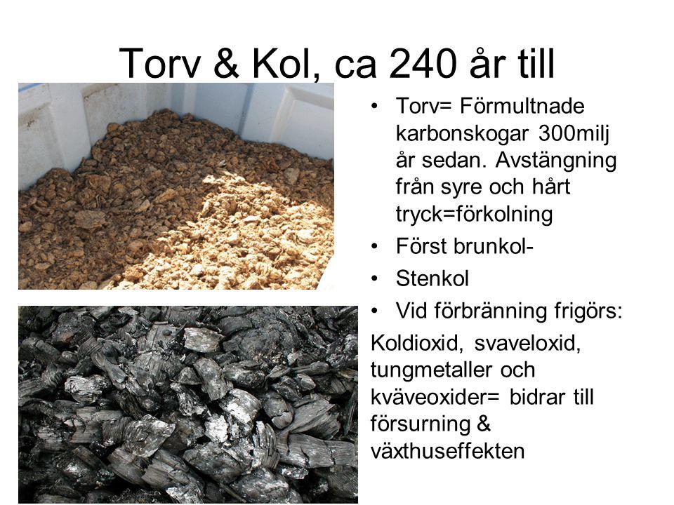 Torv & Kol, ca 240 år till Torv= Förmultnade karbonskogar 300milj år sedan. Avstängning från syre och hårt tryck=förkolning Först brunkol- Stenkol Vid