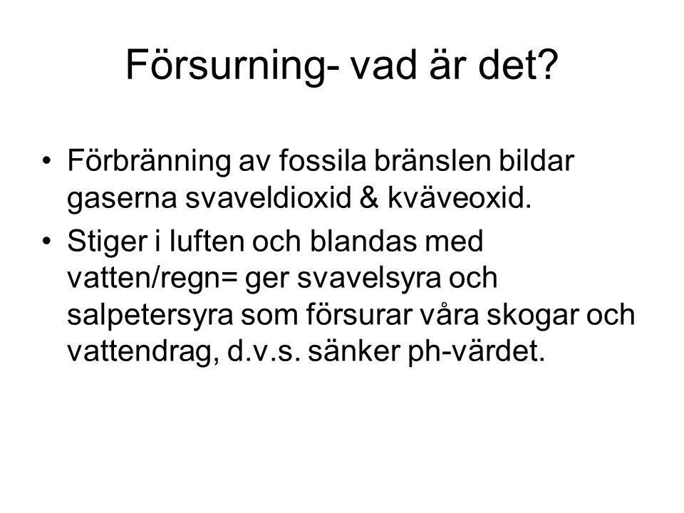 Försurning- vad är det? Förbränning av fossila bränslen bildar gaserna svaveldioxid & kväveoxid. Stiger i luften och blandas med vatten/regn= ger svav