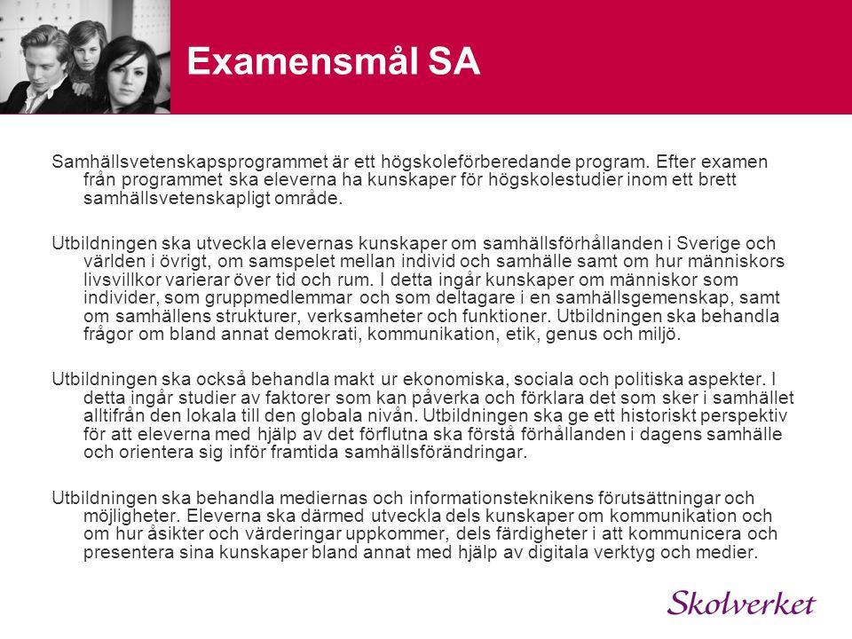 Examensmål SA Samhällsvetenskapsprogrammet är ett högskoleförberedande program. Efter examen från programmet ska eleverna ha kunskaper för högskolestu