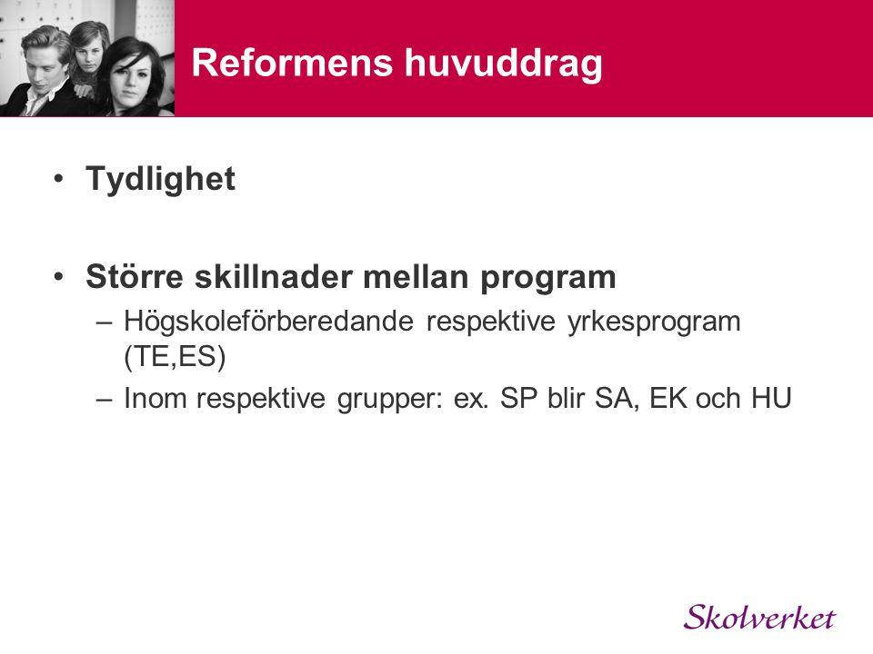 Reformens huvuddrag Tydlighet Större skillnader mellan program –Högskoleförberedande respektive yrkesprogram (TE,ES) –Inom respektive grupper: ex. SP