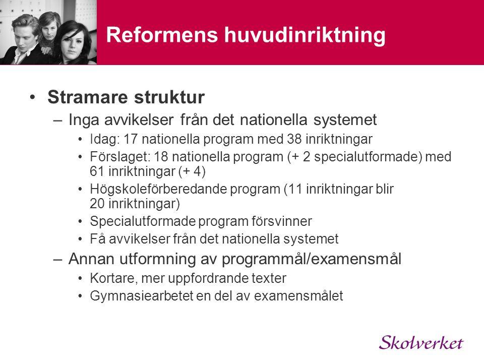 Reformens huvudinriktning Stramare struktur –Inga avvikelser från det nationella systemet Idag: 17 nationella program med 38 inriktningar Förslaget: 1