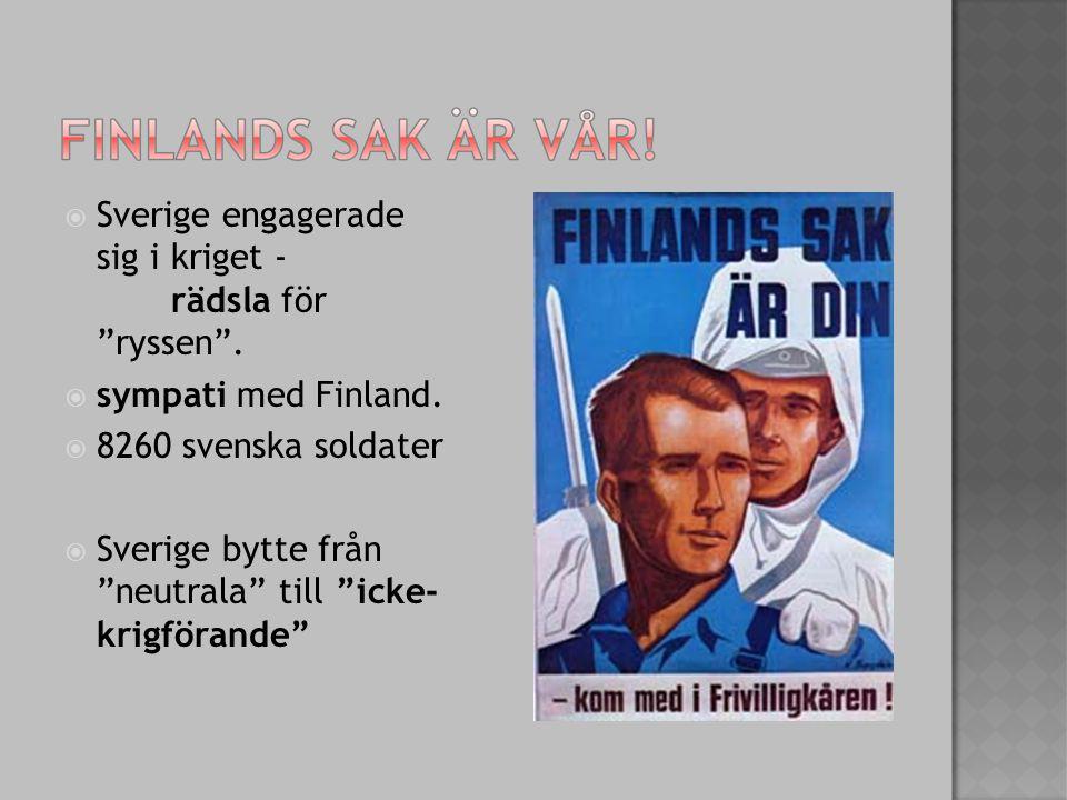  Sverige engagerade sig i kriget - rädsla för ryssen .