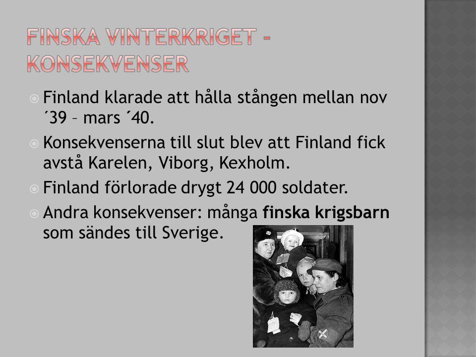  Finland klarade att hålla stången mellan nov ´39 – mars ´40.