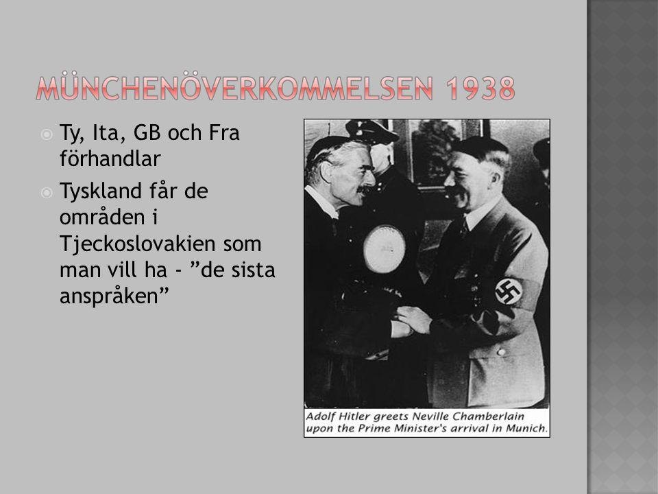  Ty, Ita, GB och Fra förhandlar  Tyskland får de områden i Tjeckoslovakien som man vill ha - de sista anspråken
