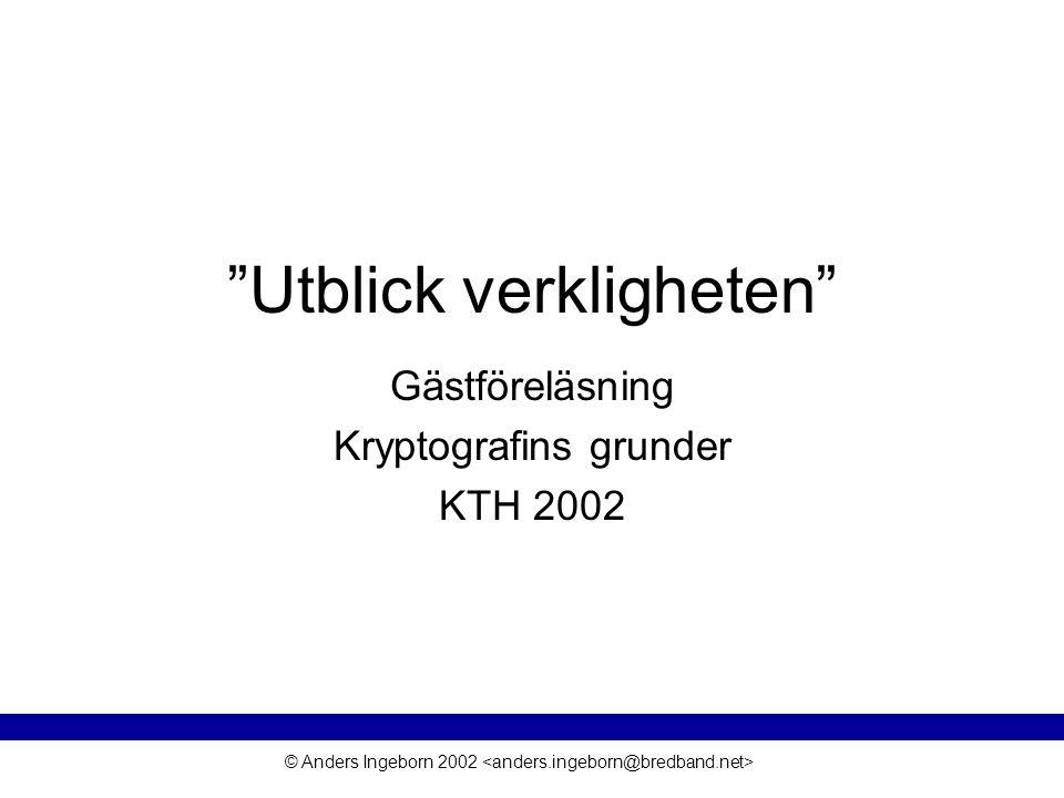 © Anders Ingeborn 2002 En bättre autentisering VPN implementeras ofta med protokollet IPSec Autentisering, sekretesskydd, riktighetsbevarande etc.