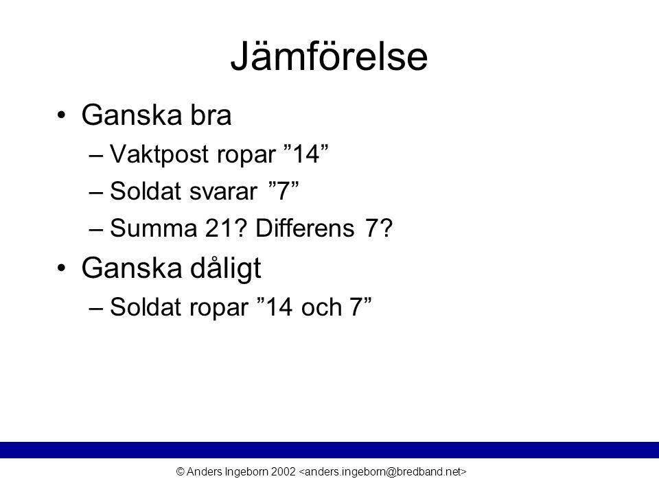"""© Anders Ingeborn 2002 Jämförelse Ganska bra –Vaktpost ropar """"14"""" –Soldat svarar """"7"""" –Summa 21? Differens 7? Ganska dåligt –Soldat ropar """"14 och 7"""""""