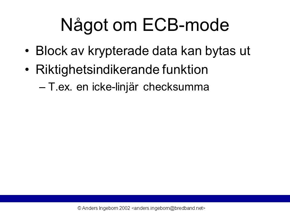 © Anders Ingeborn 2002 Något om ECB-mode Block av krypterade data kan bytas ut Riktighetsindikerande funktion –T.ex. en icke-linjär checksumma