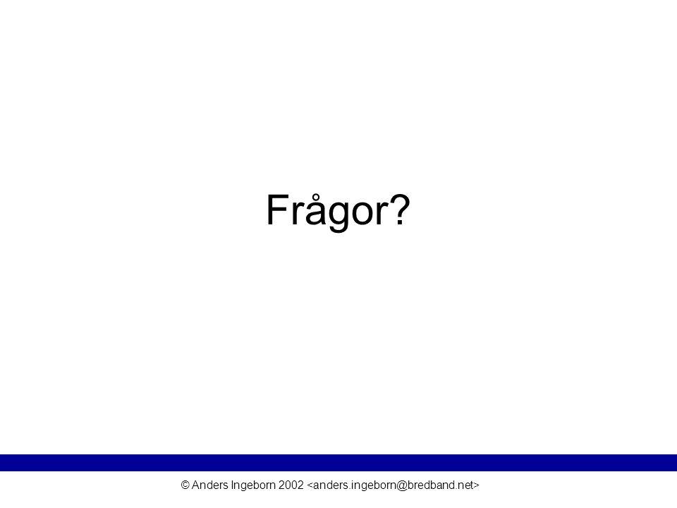 © Anders Ingeborn 2002 Frågor?