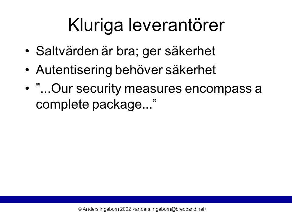 © Anders Ingeborn 2002 Något om ECB-mode Block av krypterade data kan bytas ut Riktighetsindikerande funktion –T.ex.