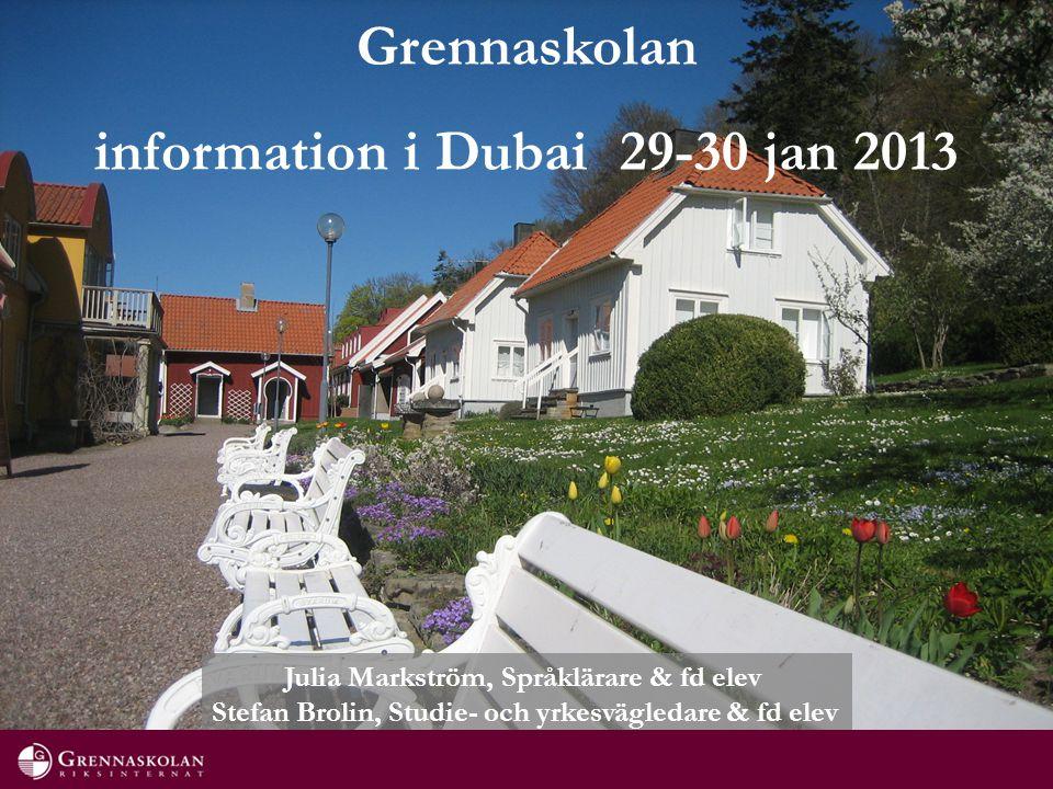 Grennaskolan information i Dubai 29-30 jan 2013 Julia Markström, Språklärare & fd elev Stefan Brolin, Studie- och yrkesvägledare & fd elev