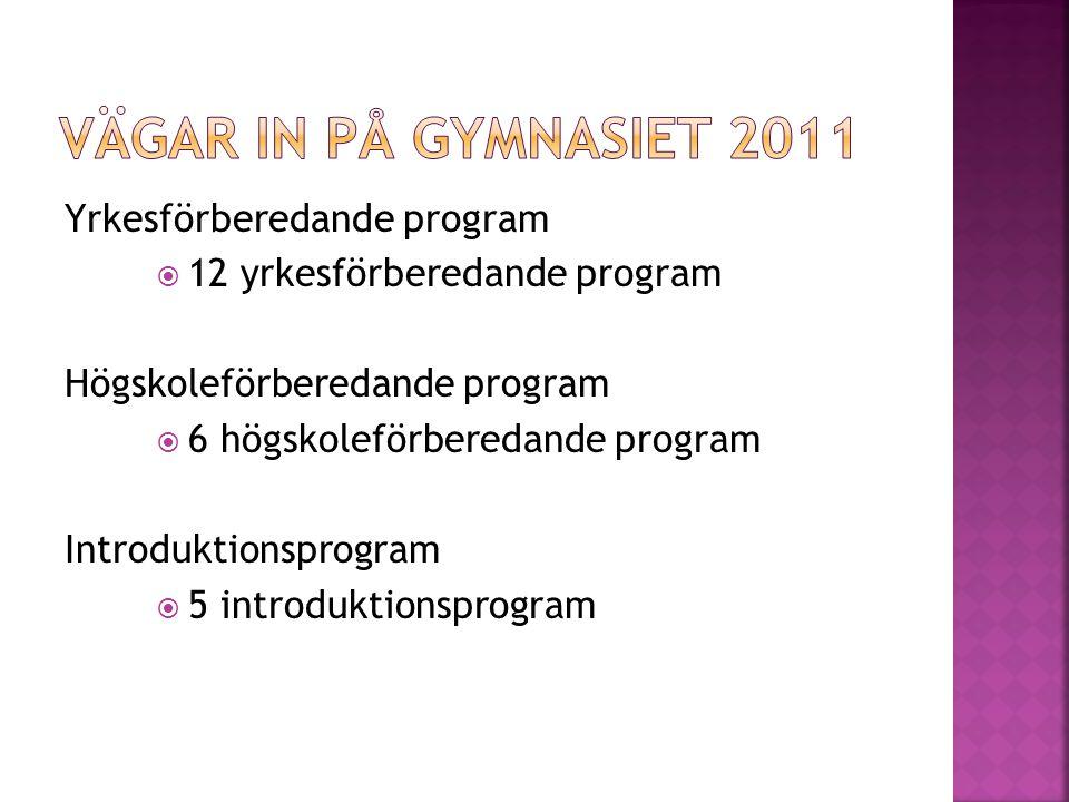 Yrkesförberedande program  12 yrkesförberedande program Högskoleförberedande program  6 högskoleförberedande program Introduktionsprogram  5 introduktionsprogram
