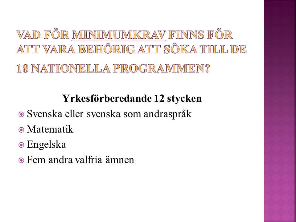 Yrkesförberedande 12 stycken  Svenska eller svenska som andraspråk  Matematik  Engelska  Fem andra valfria ämnen