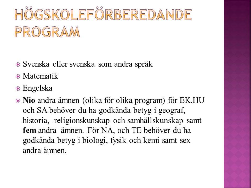  Svenska eller svenska som andra språk  Matematik  Engelska  Nio andra ämnen (olika för olika program) för EK,HU och SA behöver du ha godkända betyg i geograf, historia, religionskunskap och samhällskunskap samt fem andra ämnen.