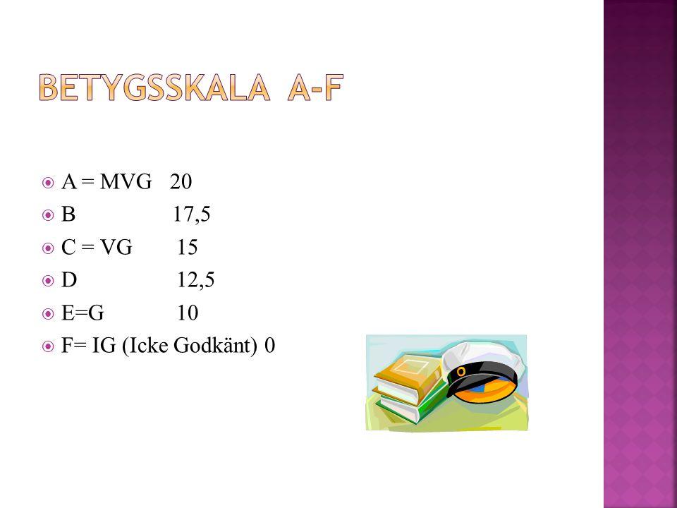  A = MVG 20  B 17,5  C = VG15  D12,5  E=G 10  F= IG (Icke Godkänt) 0