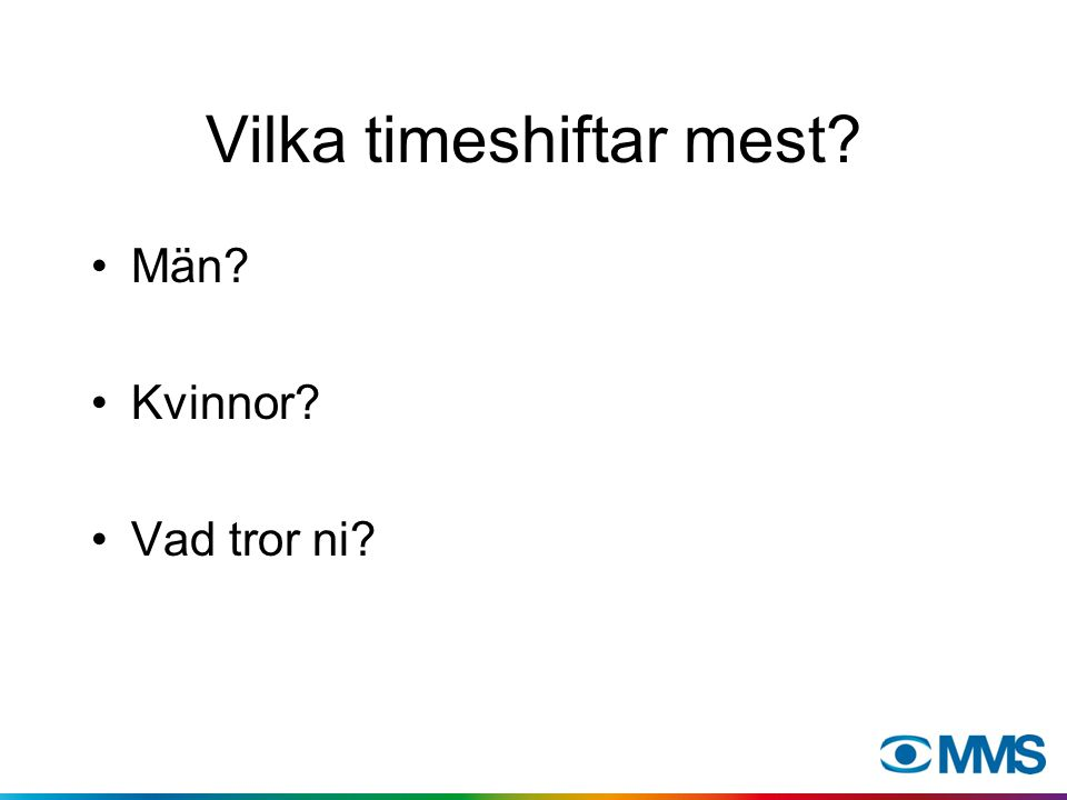 Fördelning av timeshift per programgenre. 100% = all timeshift