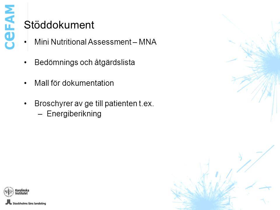 Stöddokument Mini Nutritional Assessment – MNA Bedömnings och åtgärdslista Mall för dokumentation Broschyrer av ge till patienten t.ex.