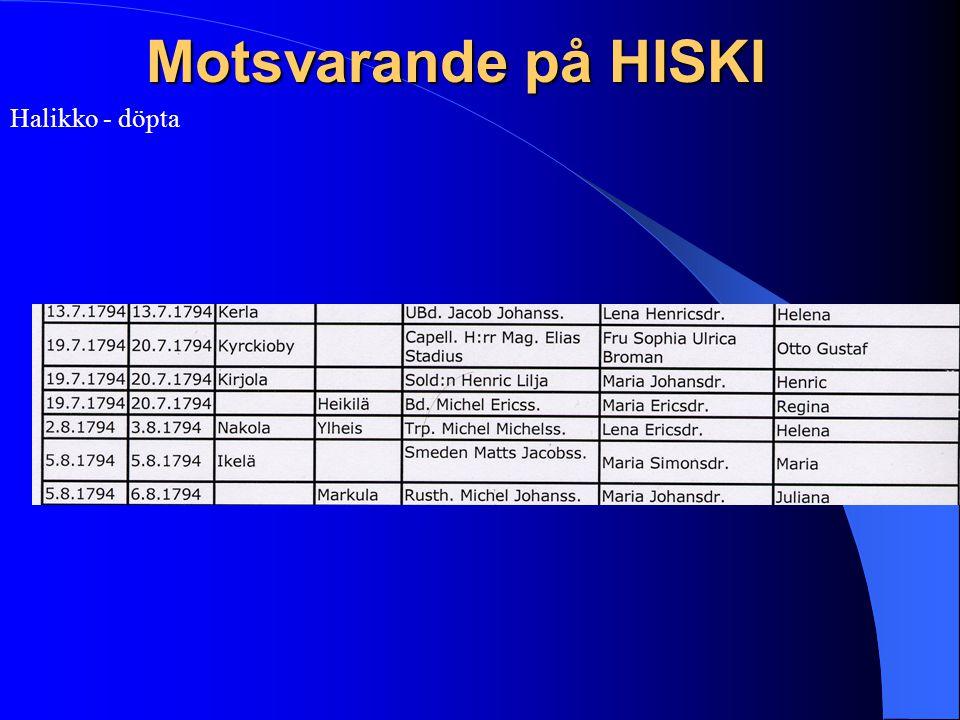 Motsvarande på HISKI Halikko - döpta