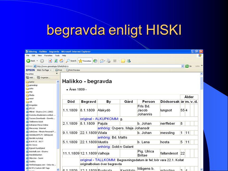 begravda enligt HISKI