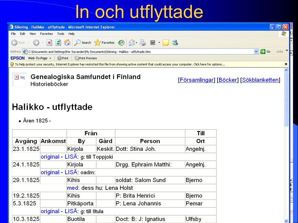 In och utflyttade Halikko - inflyttade Genealogiska Samfundet i Finland Historieböcker [Församlingar] [Böcker] [Sökblanketten]FörsamlingarBöckerSökbla