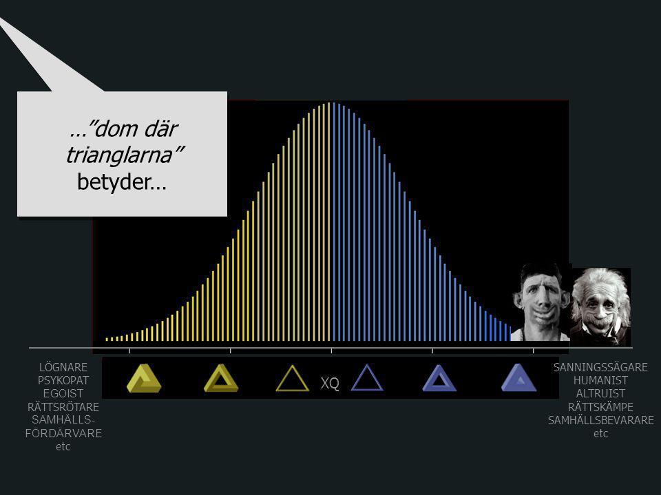 LÖGNARE PSYKOPAT EGOIST RÄTTSRÖTARE SAMHÄLLS- FÖRDÄRVARE etc SANNINGSSÄGARE HUMANIST ALTRUIST RÄTTSKÄMPE SAMHÄLLSBEVARARE etc XQ … dom där trianglarna betyder…