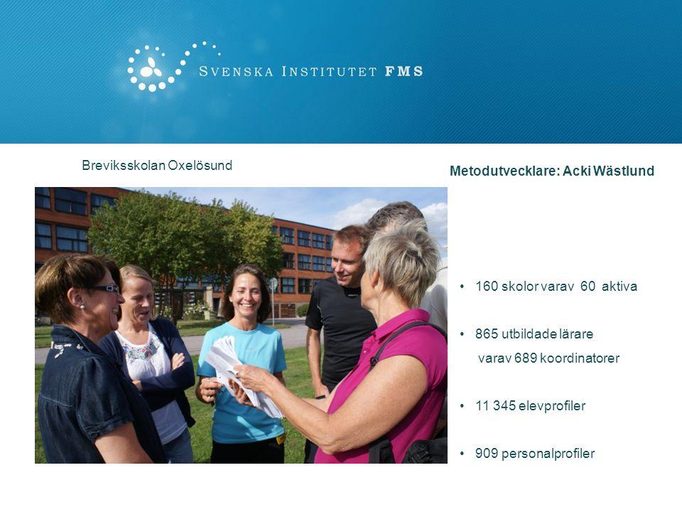 160 skolor varav 60 aktiva 865 utbildade lärare varav 689 koordinatorer 11 345 elevprofiler 909 personalprofiler Breviksskolan Oxelösund Metodutveckla