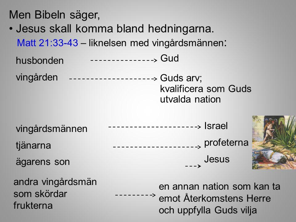 Men Bibeln säger, husbonden vingården vingårdsmännen tjänarna ägarens son Jesus skall komma bland hedningarna.