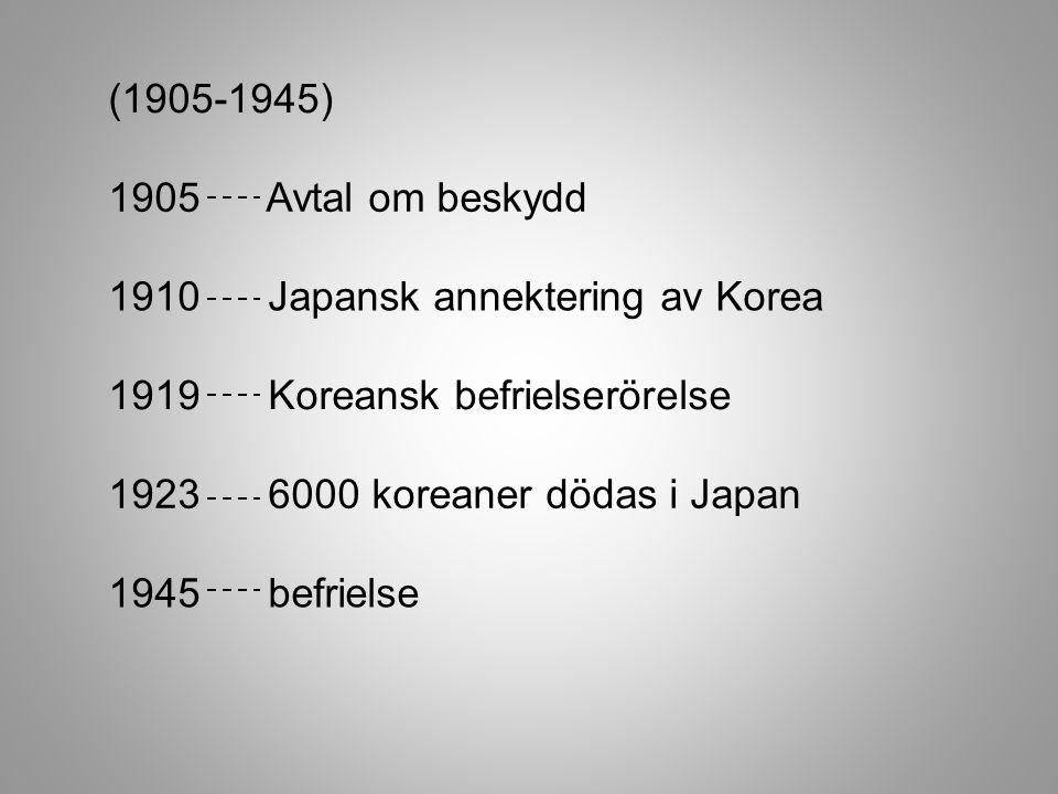 (1905-1945) 1905 Avtal om beskydd 1910 Japansk annektering av Korea 1919 Koreansk befrielserörelse 1923 6000 koreaner dödas i Japan 1945 befrielse