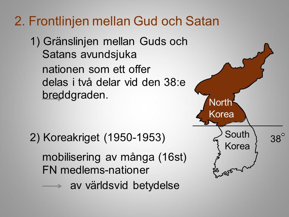 2. Frontlinjen mellan Gud och Satan 1) Gränslinjen mellan Guds och Satans avundsjuka South Korea 38 North Korea nationen som ett offer delas i två del