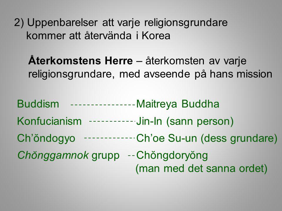 2) Uppenbarelser att varje religionsgrundare kommer att återvända i Korea Återkomstens Herre – återkomsten av varje religionsgrundare, med avseende på hans mission Buddism Maitreya Buddha Konfucianism Jin-In (sann person) Ch'ŏndogyo Ch'oe Su-un (dess grundare) Chŏnggamnok grupp Chŏngdoryŏng (man med det sanna ordet)