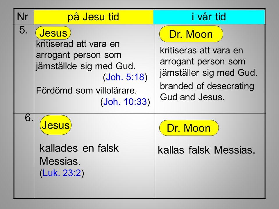 Nr kallas falsk Messias. Dr. Moon kallades en falsk Messias. (Luk. 23:2) 6. Jesus kritiserad att vara en arrogant person som jämställde sig med Gud. (
