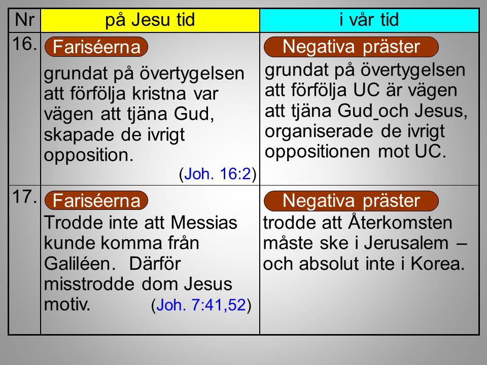i vår tidpå Jesu tidNr grundat på övertygelsen att förfölja kristna var vägen att tjäna Gud, skapade de ivrigt opposition. (Joh. 16:2) 16. Fariséerna