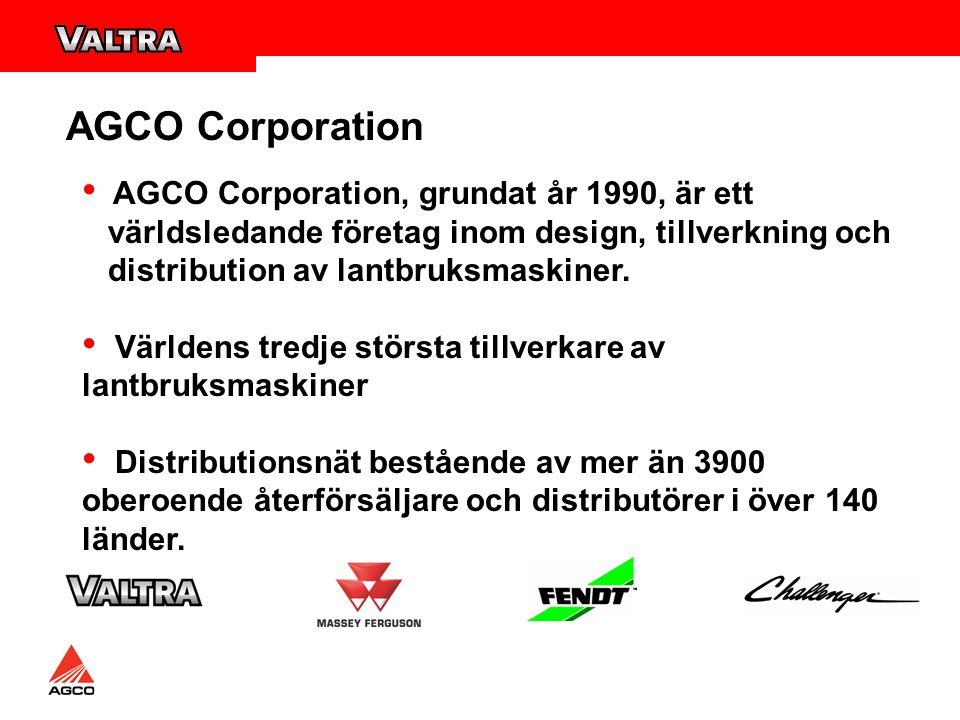 AGCO Corporation, grundat år 1990, är ett världsledande företag inom design, tillverkning och distribution av lantbruksmaskiner.
