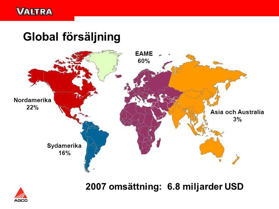 Nordamerika 22% EAME 60% Sydamerika 16% Asia och Australia 3% 2007 omsättning: 6.8 miljarder USD Global försäljning
