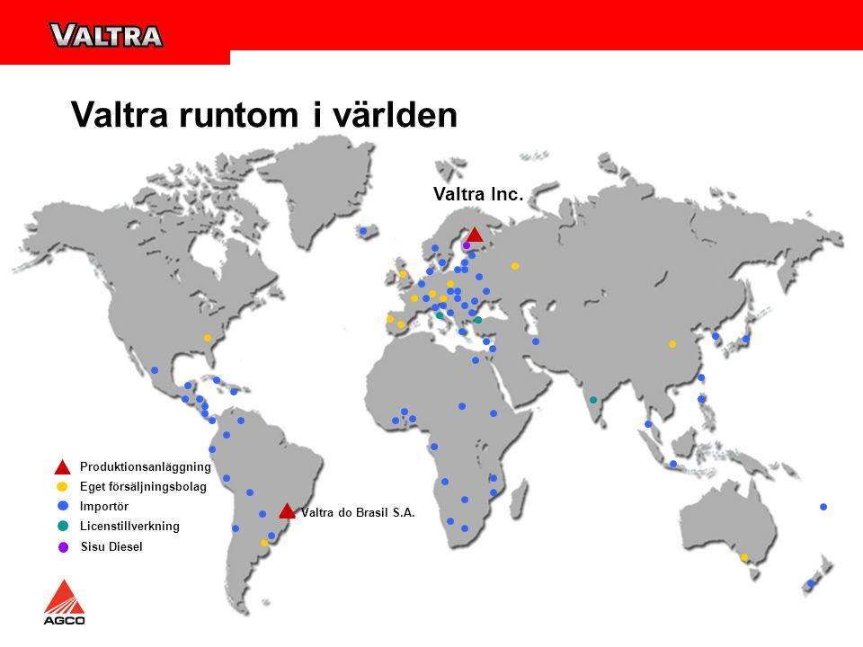 Reservdelsservice Valtra centrallager i Suolahti AGCO huvudlager i Ennery (FR) Satelitlager i Köpenhamn, Barcelona, Desford (UK), Scandinaviskt lager i Malmö (LMB) Över 50 000 lagerförda artikelnummer Leveranser inom 24 timmar till alla europeiska länder Under högsäsong 24 timmars jour Delar även till 30 år gamla traktorer