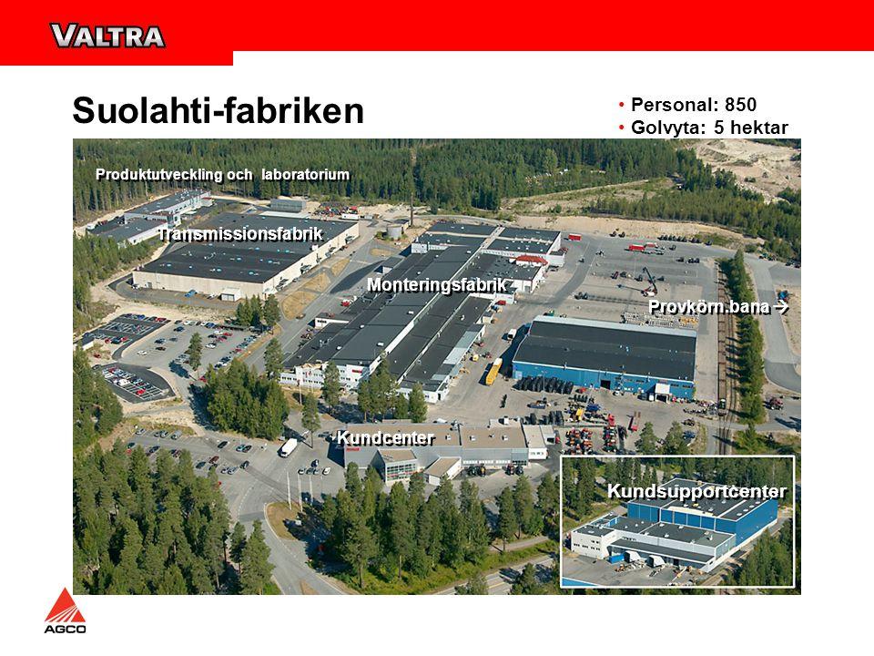 Suolahti-fabriken Personal: 850 Golvyta: 5 hektar Transmissionsfabrik Monteringsfabrik Kundcenter Kundsupportcenter Provkörn.bana  Produktutveckling och laboratorium