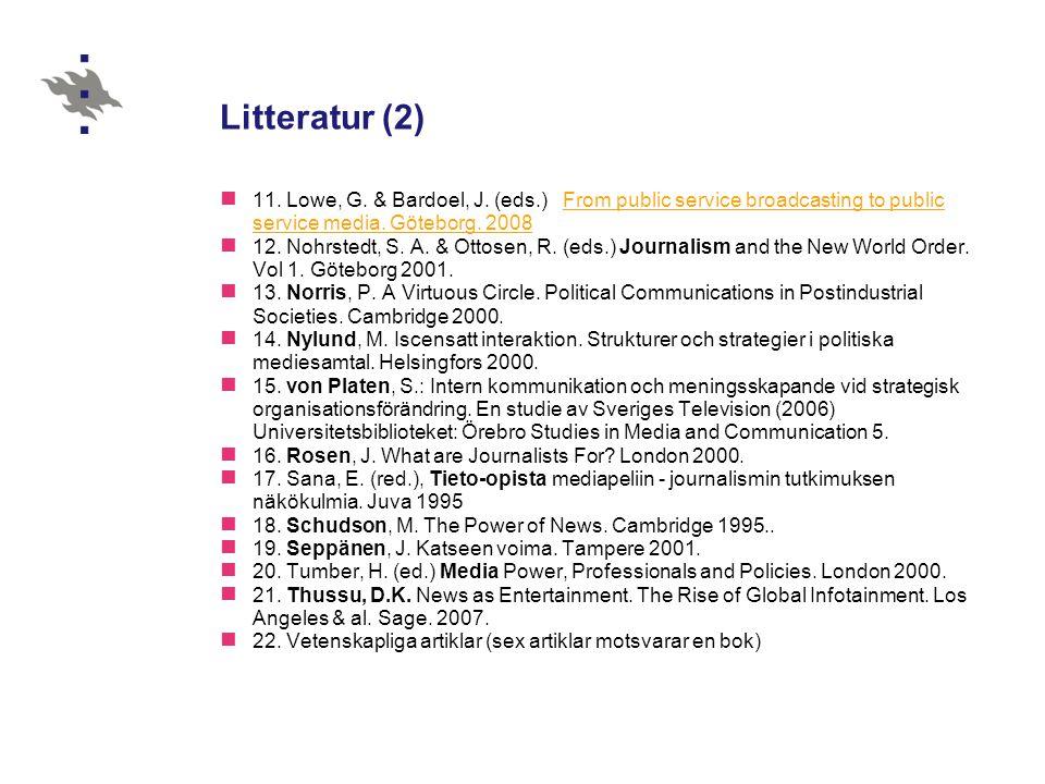 Forskningsessä Längd: 5–6 sidor, färdig senast 31.10.2008 Ett tema, ett par mera konkreta frågor inom det (=frågeställning) Vetenskaplig användning av källor (referenser i texten & litteraturförteckning på slutet: författare, år, rubrik, utgivningsplats) Slutsatser eller nya frågeställningar i slutet; koppling till eget fortsatt arbete Stil: vardagsprosa, definitionerna klara