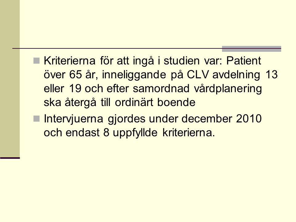 Kriterierna för att ingå i studien var: Patient över 65 år, inneliggande på CLV avdelning 13 eller 19 och efter samordnad vårdplanering ska återgå till ordinärt boende Intervjuerna gjordes under december 2010 och endast 8 uppfyllde kriterierna.