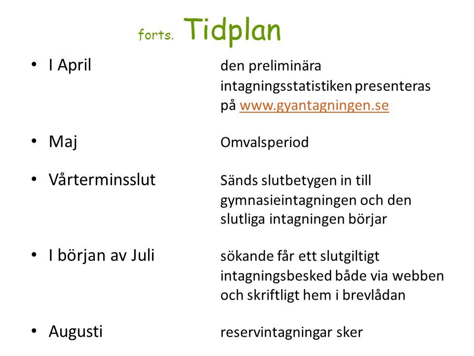 forts. Tidplan I April den preliminära intagningsstatistiken presenteras på www.gyantagningen.sewww.gyantagningen.se Maj Omvalsperiod Vårterminsslut S