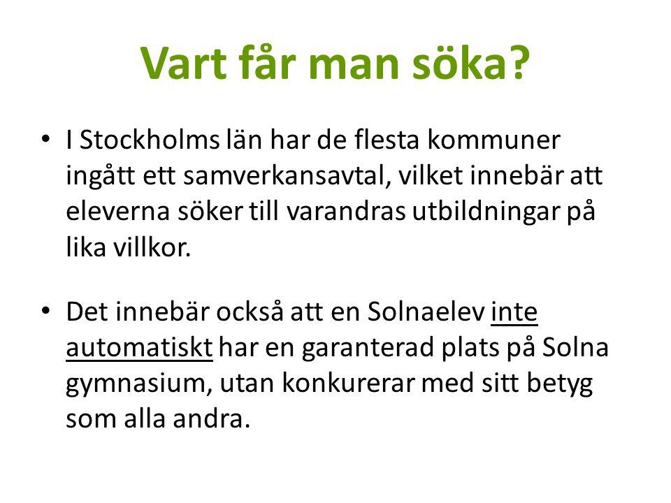 Vart får man söka? I Stockholms län har de flesta kommuner ingått ett samverkansavtal, vilket innebär att eleverna söker till varandras utbildningar p