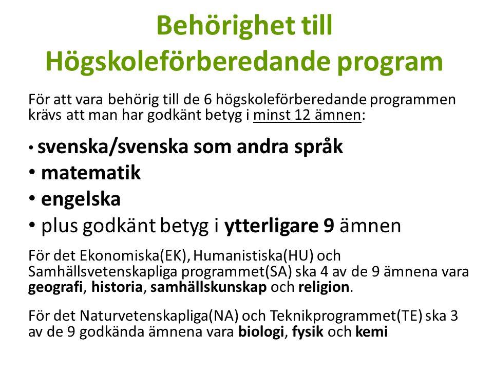 Behörighet till Högskoleförberedande program För att vara behörig till de 6 högskoleförberedande programmen krävs att man har godkänt betyg i minst 12 ämnen: svenska/svenska som andra språk matematik engelska plus godkänt betyg i ytterligare 9 ämnen För det Ekonomiska(EK), Humanistiska(HU) och Samhällsvetenskapliga programmet(SA) ska 4 av de 9 ämnena vara geografi, historia, samhällskunskap och religion.